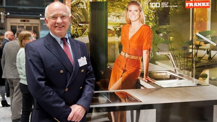 Franke-Patron Michael Pieper mit Werbeikone Heidi Klum. (Archiv)