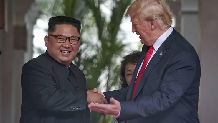 Ein historisches Treffen: Nordkoreas Machthaber Kim Jong Un und US-Präsident Donald Trump im Capella Resort auf Sentosa Island am 12. Juni 2018.