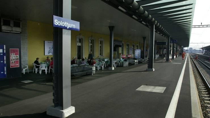 Gleis 1 am Hauptbahnhof Solothurn.