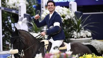 Geschafft! Steve Guerdat freut sich im April 2019 im Sattel von Alamo über seinen dritten Sieg bei einem Weltcup-Final.