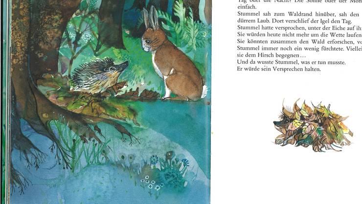 Illustratorin Sita Jucker lässt 1986 mit Unschärfen und dunkler Farbgebung den Original-Stummel Nacht und Zwielicht erleben.