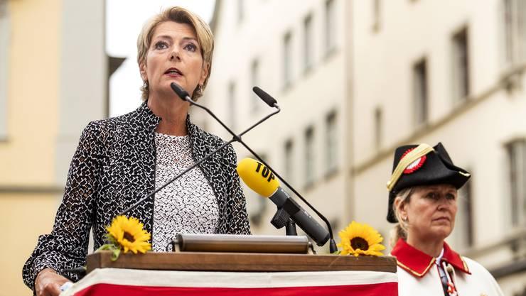 Sie hält die Zügel in der Hand: Justizministerin Karin Keller-Sutter (FDP), hier bei ihrer 1.-August-Rede in Schaffhausen.