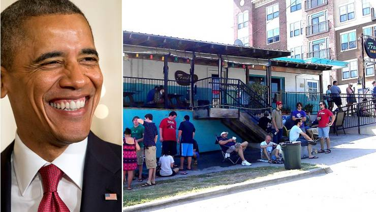 Barack Obama will im beliebten Grillrestaurant in Austin nicht warten und zieht sich dafür die Spendierhosen an.