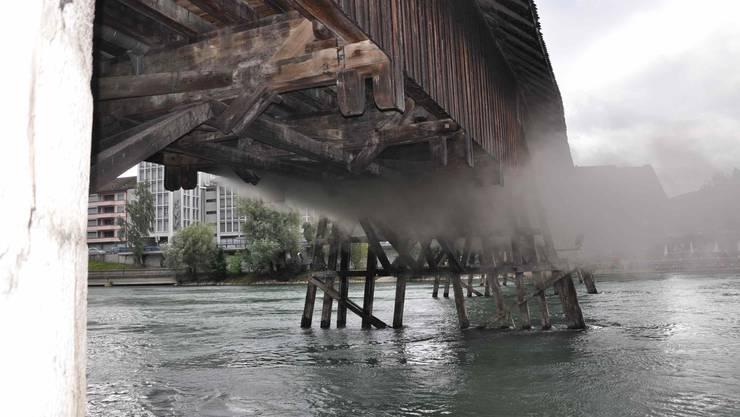 Brand auf der Oltner Holzbrücke