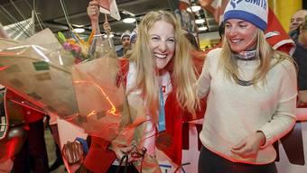 Die Skicrosserin Fanny Smith wurde in Genf von ihren Freunden und Fans empfangen