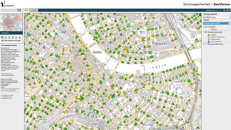 Der Online-Schulweg basiert auf dem Stadtplan des Geoportals Basel. (Screenshot)