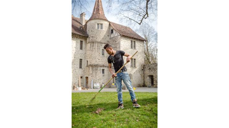 Rund um die Linde im Innenhof von Schloss Hallwyl wird Laub aus dem Rasen gerecht.
