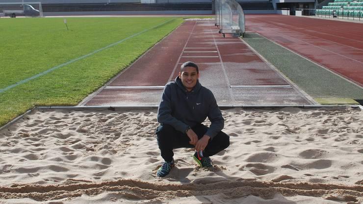Christopher Ullmann auf seiner Trainingsanlage
