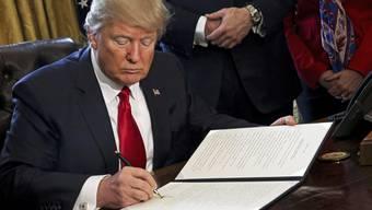 Trump bei der Unterzeichnung des Dekrets.