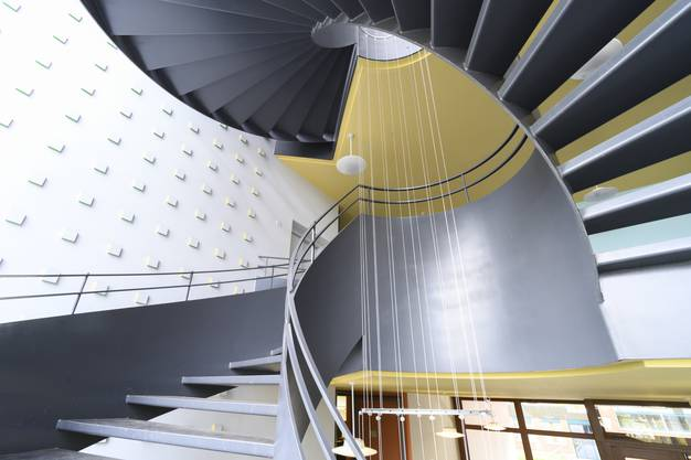 Das Treppenhaus ist normalerweise geschmückt.