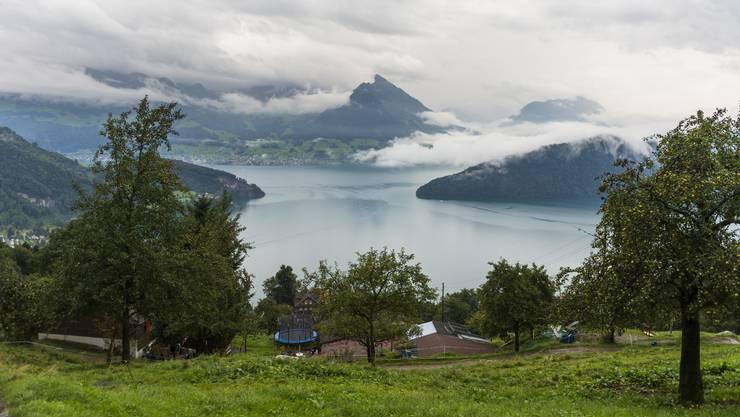 Blick von Vitznau auf den Vierwaldstättersee.  Hier hoch über dem See steht das Haus der Familie,  dessen Renovation nun auch von Weinigen unterstützt wird.