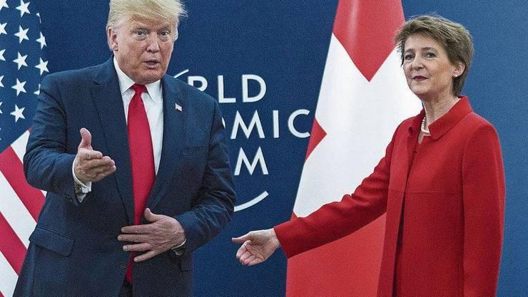 Am Nachmittag treffen sich Donald Trump und eine Schweizer Delegation, angeführt von Bundespräsidentin Simonetta Sommaruga.
