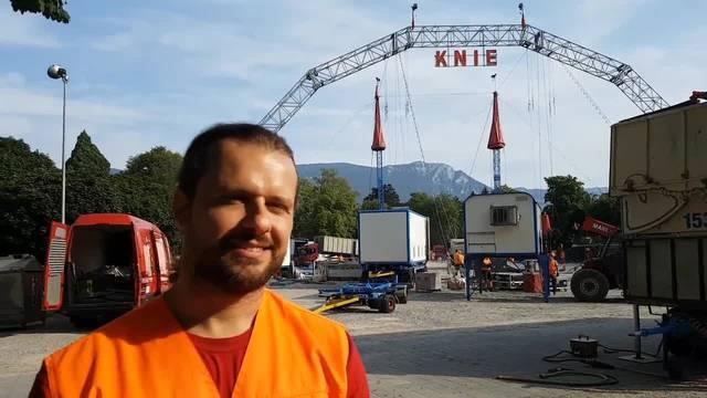 Zirkus Knie stellt in Solothurn auf. Franco Knie Jr.: «Es ist ein enger Platz. Wir müssen einen Wagen nach dem anderen auspacken.»