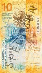 Eine Seite der Note zeigt ein Bahngleis und ein Uhrwerk. (Bild: SNB)