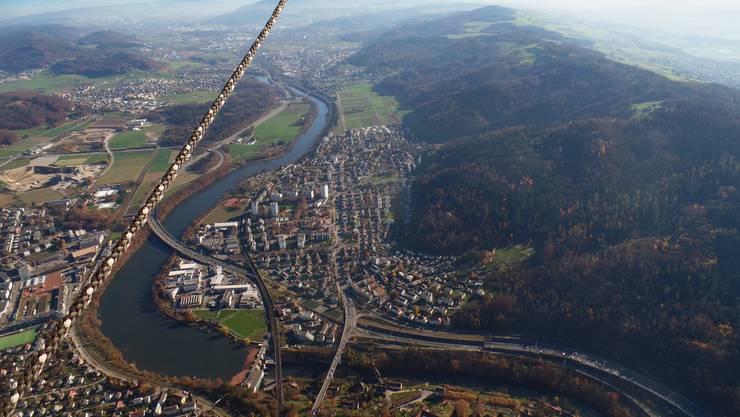 Aufnahme aus dem Heissluftballon: Das Gebiet Härdli (rechts des Seils) soll in eine Zone «Wohnen und Gewerbe» umgezont werden.