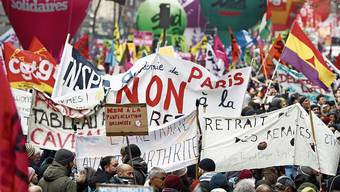 Demonstration gegen die Rentenreform in Paris.