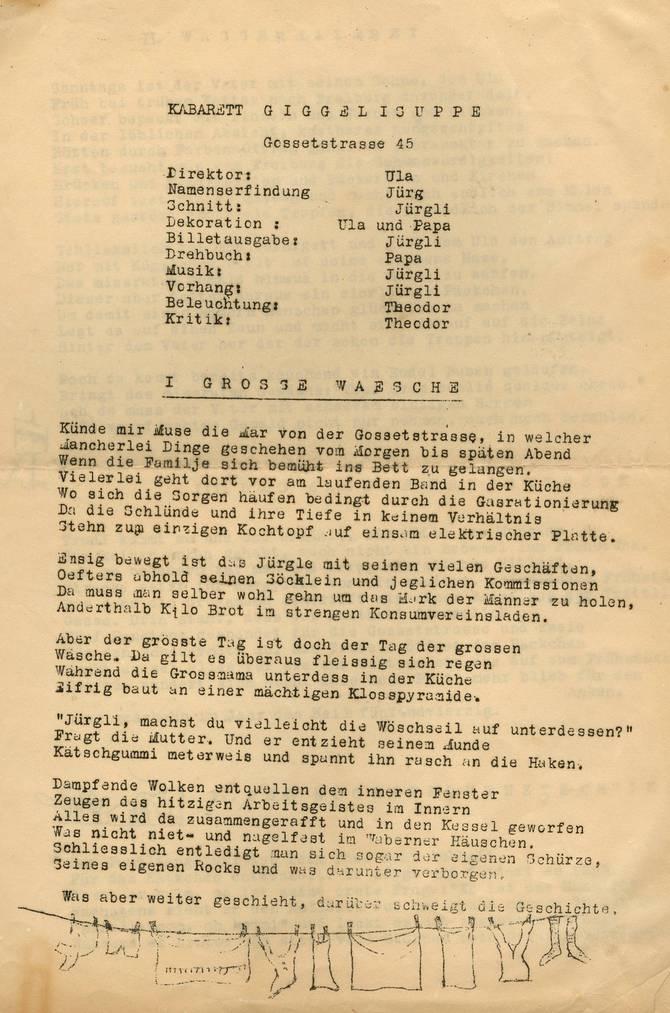 Das Kabarett «Giggelisuppe» aus dem Jahr 1945. (Bild: Staatsarchiv St.Gallen)
