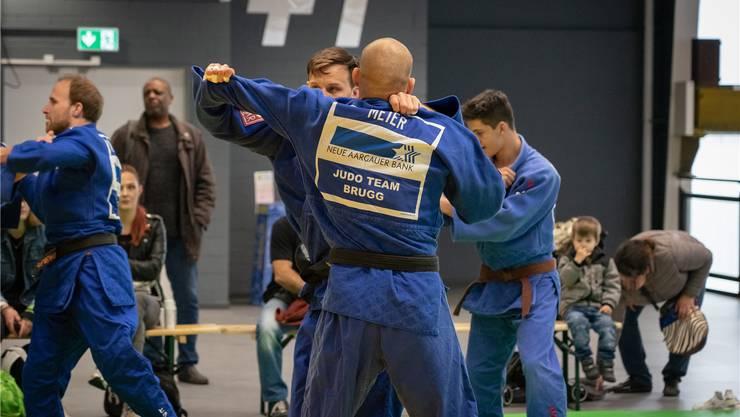 Die Brugger Judokas beim Einwärmen – sie dominieren die Nationalliga A derzeit mit einer makellosen Bilanz. zvg/Benar Baltisberger
