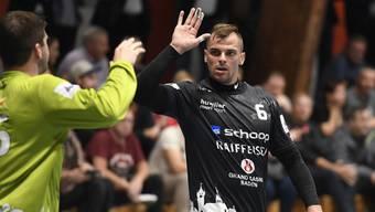 Der STV Baden mit Goalie Marco Wyss (l.) und Pascal Bühler will weiter auf der Erfolgswelle reiten.
