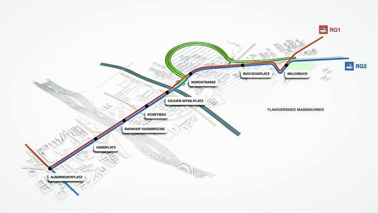 Das Rosengartenprojekt besteht aus einem Strassentunnel (grün) von der Hardbrücke bis zum Irchelpark und zwei neuen Tramlinien (blau und orange) zwischen Albisriederplatz und Milchbuck.