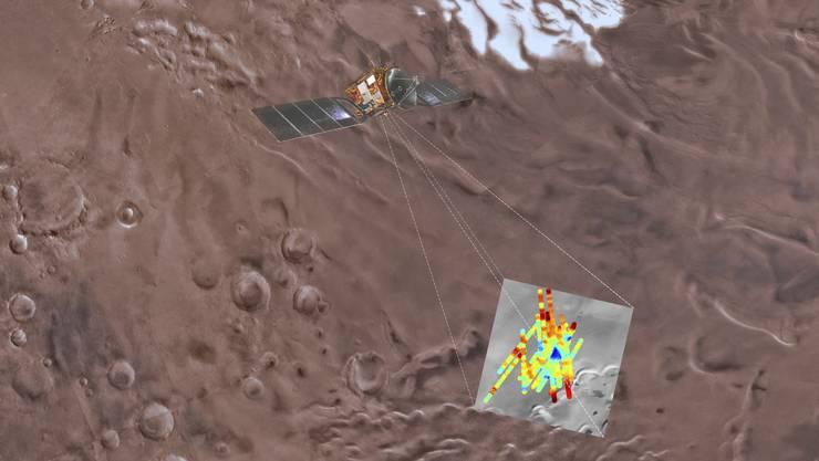 Eine Zeichnung der Forschungs-Situation auf dem Mars: Das kleine blaue Dreieck (unten rechts) stellt das vermutete Wasser-Reservoir dar.