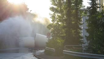 Ort des Schreckens: Das Werkgelände der Infrapark Baselland AG in Muttenz nach der Explosion. (zvg / Polizei Baselland)