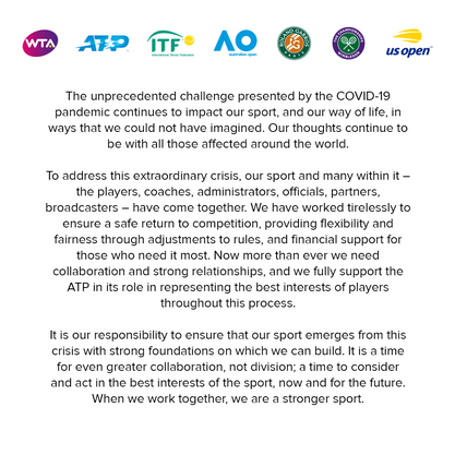 Die gemeinsame Erklärung von WTA, ATP, ITF, Australian Open, French Open, Wimbledon und den US Open.