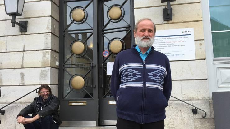 Norbert Valley am Prozesstag vor dem Polizeigericht La Chaux-de-Fonds.