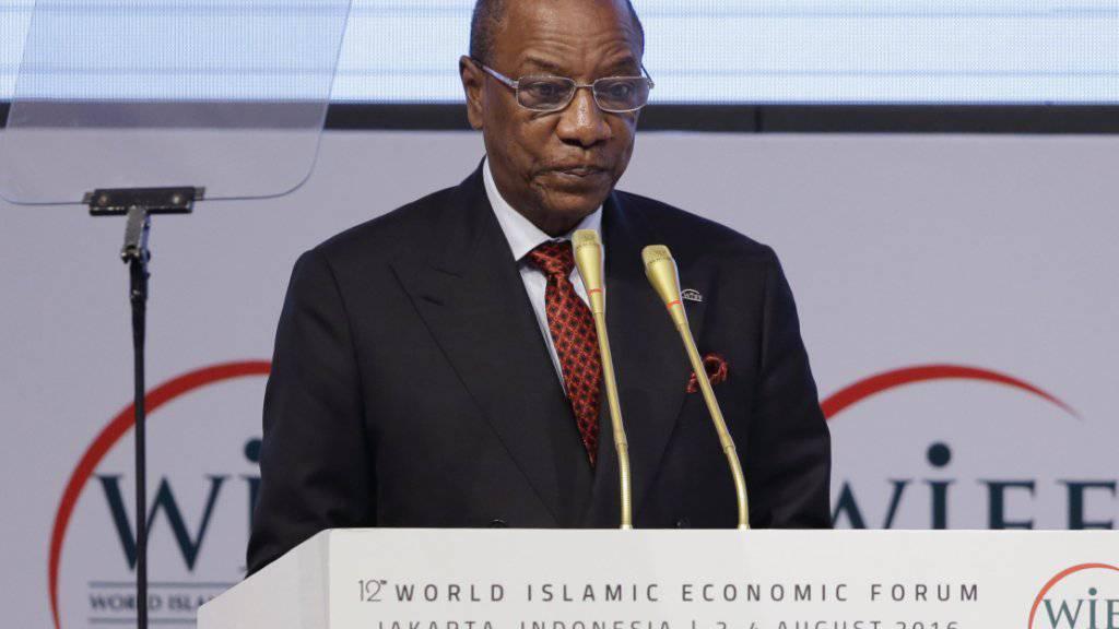 Guineas Präsident Alpha Condé: Gegen ihn und seine Regierung richtete sich die Grosskundgebung in Conakry, bei der mindestens ein Mann von der Polizei getötet wurde. (Archivbild)