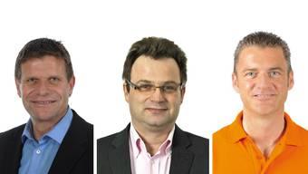 V.l.n.r.: FDP-Einwohnerrat und Vize-Ortsparteipräsident Martin Egloff, BDP-Einwohnerrat und Bezirksparteipräsident Michael Merkli und CVP-Einwohnerrat und Ortsparteipräsident Roland Michel.