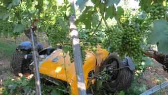 Unfall in Tegerfelden: Dieser Caterham Seven ist in einem Rebberg gelandet.