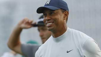 Tiger Woods ist am US Masters in bester Laune. Hier hat er gerade seine zweite Runde beendet