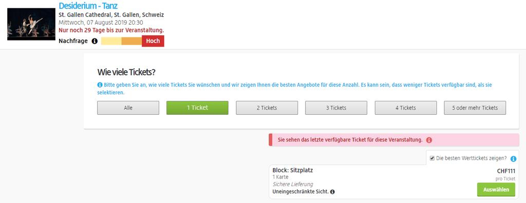 Die erfundene Vorstellung kann für 111 Franken pro Ticket besucht werden. (Screenshot: viagogo.ch)