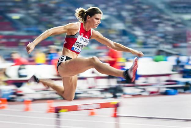 Volle Kraft voraus Richtung Final: Léa Sprunger zieht dank einer Saisonbestleistung in den Final über 400 Meter Hürden ein.
