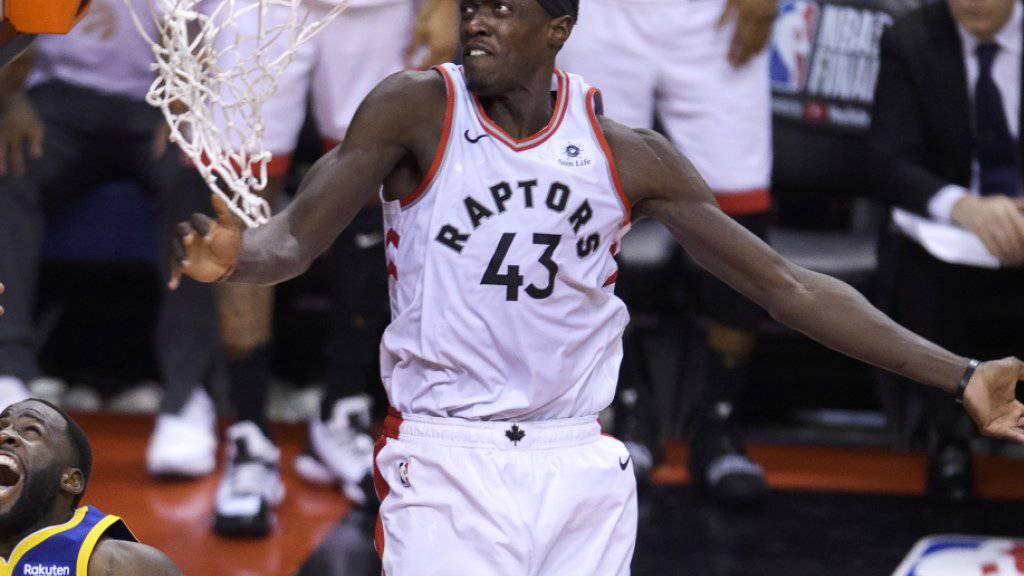 Pascal Siakam (Nummer 43) war im ersten Finalspiel der erfolgreichste Werfer der Raptors