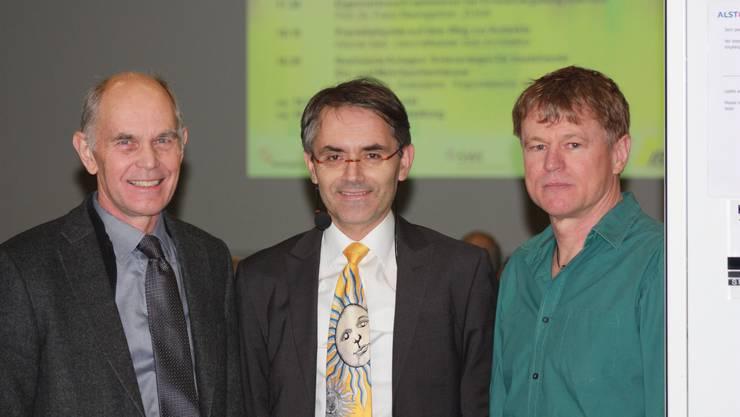 """Die drei Referenten am Energieapero zum Thema """"Solarenergie – individuell genutzt"""" von rechts: Werner Setz, Franz Baumgartner, Heinz Schöni"""