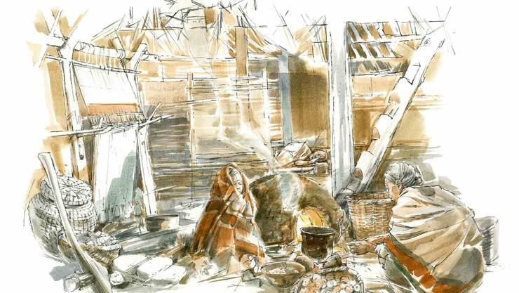 Herbst 3830 v. Chr. am Burgäschisee. Minara kauert am Herd, im Topf köchelt eine Suppe.