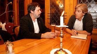 Roland Heim während des Gesprächs mit Chefredaktor Theodor Eckert.
