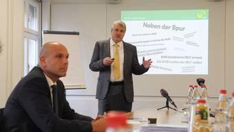 Erst unter Verschluss, dann doch veröffentlicht: der Finanzkommissions-Bericht zur BVB-Affäre, die Direktor Jürg Baumgartner (l.) und Verwaltungsratspräsidenten Martin Gudenrath (r.) den Job kostete.