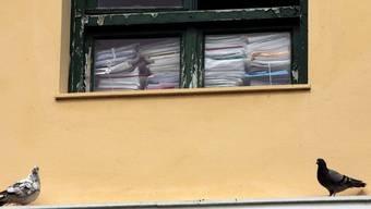 Blick durch ein Fenster eines Polizeipostens in Athen (Symbolbild)