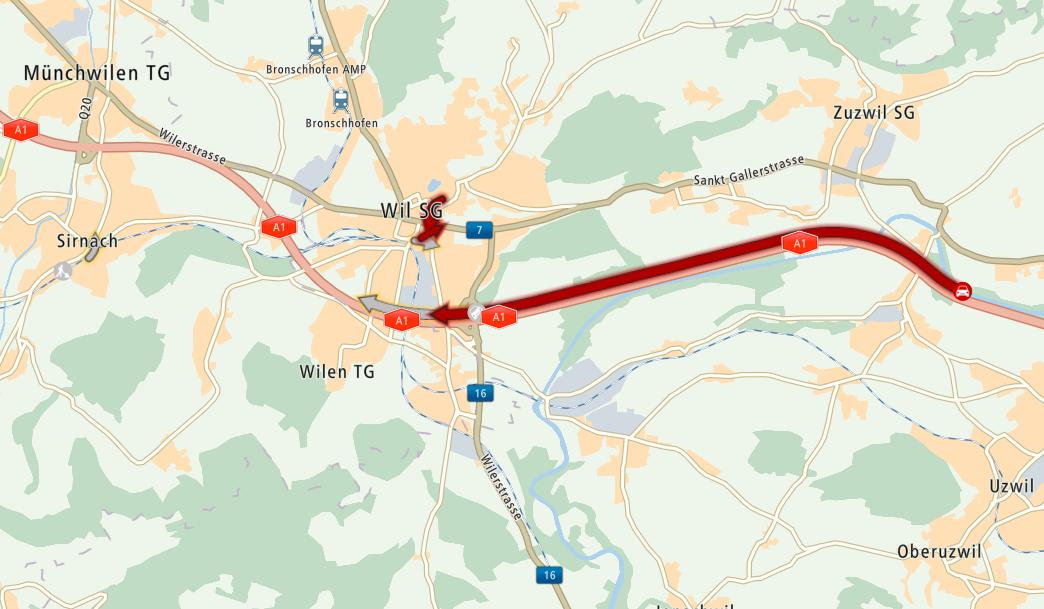 Auf der Autobahn A1 vor Wil ist am Dienstagabend Geduld gefragt.   (Screenshot: mydrive.tomtom.com)
