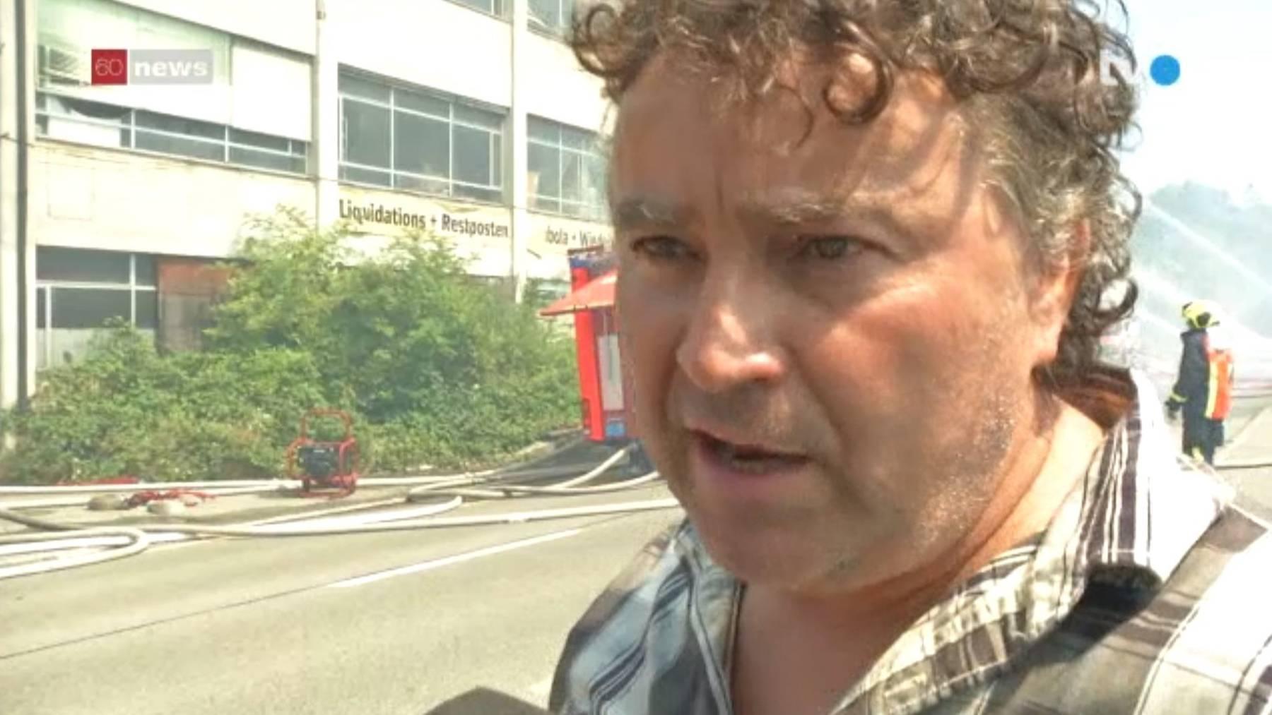 Max Niederer beim Brand in Horn, 3.8.2015 / TVO