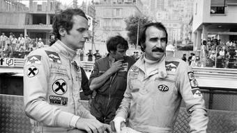 Das wohl spektakulärste Formel-1-Team der Jahre 1974 bis 1976: Clay Regazzoni und der Österreicher Niki Lauda im Ferrari-Stall.