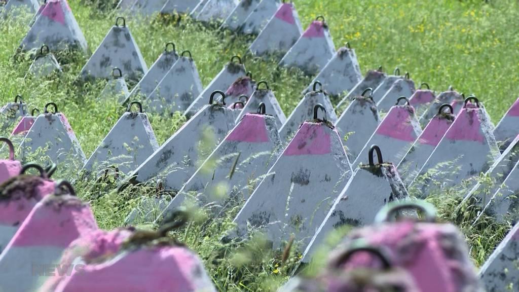 Illegale Kunst: Denkmalgeschützte Panzersperren in Wimmis jetzt rosarot