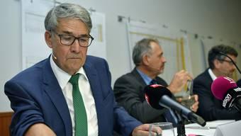 An der Postauto-Medienkonferenz gab unter anderem Post-Verwaltungsratspräsident Urs Schwaller Auskunft.