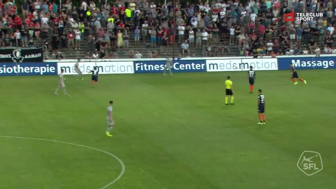Challenge League 2019/2020, FC Aarau - FC Wil (31.08.2019), Schuss von Patrick Rossini