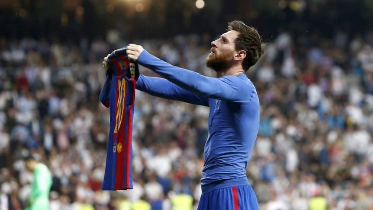 Ein Bild, das um die Welt ging: Der Jubel von Lionel Messi nach seinem zweiten Tor im Clasico.