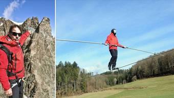 Fredy Nock zeigt die Strecke im Engadin. Rechts läuft er blind mit dem undurchsichtigen Helm auf dem 350 Meter langen Seil in Uerkheim.