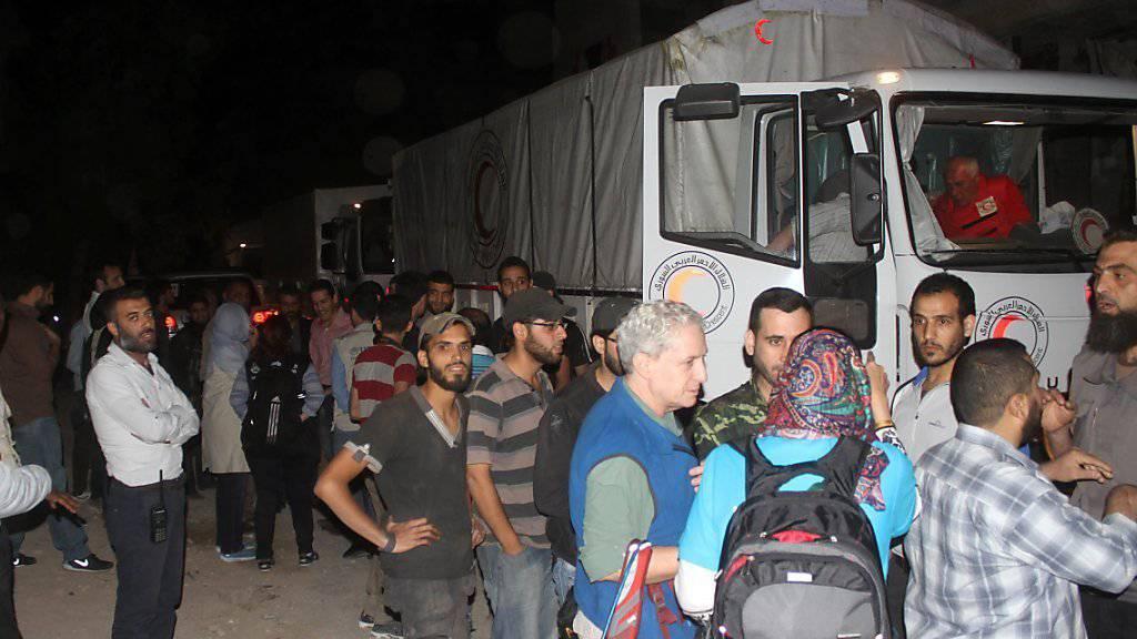 Ankunft des Hilfskonvois in Daraja.