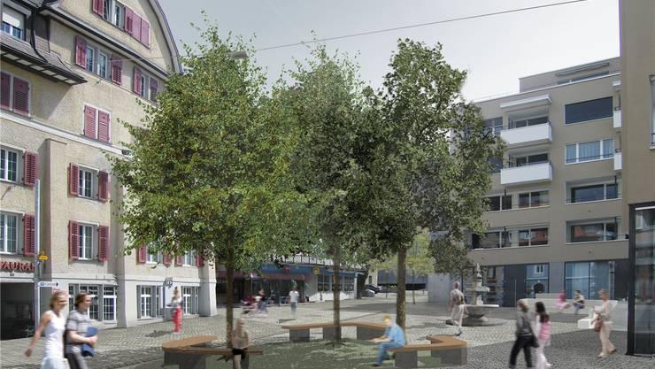 Bis auf die Sitzbänke, die eine andere Form erhalten, wird der Ennetbadener Postplatz nach seiner Fertigstellung Mitte September aussehen wie auf dieser Visualisierung.